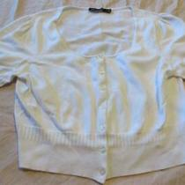 Womens Ladies the Limited White Cropped Cardigan Sweatercotton Blendsize Lgec Photo