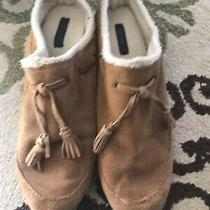 Womens Lands End Tan With Sherpa & Suede Slip on Clogs Mules Shoes Size 10 B Photo