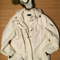 Womens Lands End  Winter Jacket White With Hood Medium Photo
