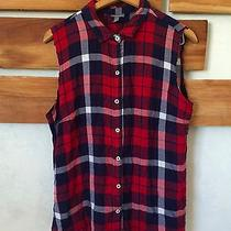 Womens Large Plaid Cut Sleeves Flannel Grunge  Photo