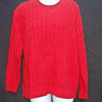 Womens Lauren Ralph Lauren Petite Medium Red Cable Knit Sweater Photo