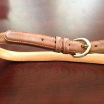 Womens Leather Belt  Medium British Tan Glove Tanned W Solid Brass Buckle Photo