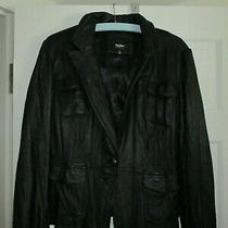 Womens Leather Jacket Button Front by Mossimo Size X-Large Black Leather Photo