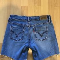 Womens Levi Strauss & Co 515 Capri Blue Denim Shorts Uk 6 ( Self Cut ) Photo
