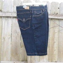 Womens Levis 512 Perfectly Slimming Dark Denim Stretch Bermuda Shorts Size 14  Photo
