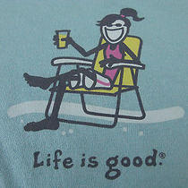 Womens Life Is Good Cotton Jackie Beach Chair Surf Blue T-Shirt Large Nwt New Photo