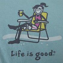 Womens Life Is Good Cotton Jackie Beach Chair Surf Blue T-Shirt Medium Nwt New Photo