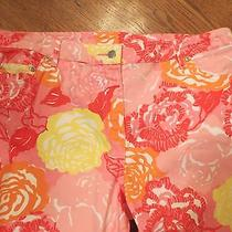 Womens Lilly Pulitzer Capri Cropped Bright Colored Floral Jeans Pant Size 14 Euc Photo