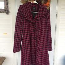 Womens Long Black and Fushia Wool Blend Express Name Brand Coat Photo