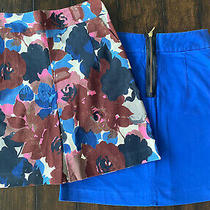 Womens Lot of 2 Express Size 4 Pencil Skirts. Cobalt Blue & Floral With Zip Back Photo