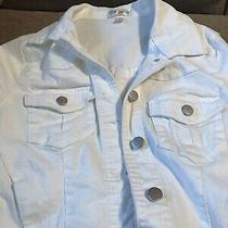Womens Love Fire White Jean Jacket Size Small White Photo