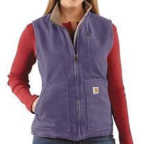 Womens Lrg Carhartt Wildwood Vest Weathered Duck Chore Coat Barn Work Sherpa  Photo