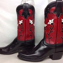 Womens Lucchese Classics Handmade Snip Toe Cowboy Leather Black Boots Size 7 B Photo