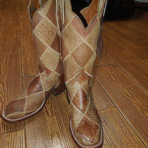 Womens Lucchese Rare-Full Boot Ostrich Patchwork..unique and Beautiful Size 7 B Photo