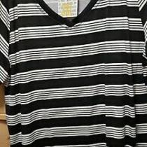 Womens Lularoe Christy Shirt Black and White Striped Sz 3xl Xxxl 22 24 Nwt Photo