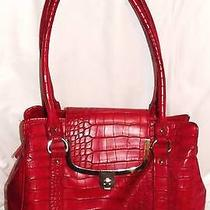 Womens Lulu Guinness Purse Red Croc Gold Shoulder Bag Nice Photo