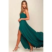 Womens Lulus Essence of Style Teal Green Maxi Dress Size Medium Photo