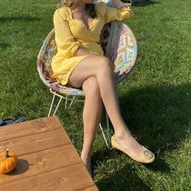 Womens Lulus Yellow 3/4 Sleeve Fall Dress - Size Medium Photo