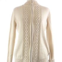 Womens M French Laundry Beige Zippered Cable Knit Sweater Cardigan Photo