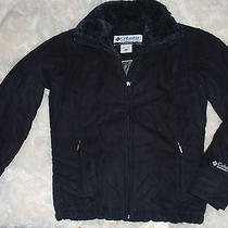 Womens M Medium Columbia Black Soft Micro Suede Like Warm Winter Coat Jacket Photo