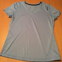 Womens M Reebok Dry v Neck Short Sleeve Light Blue Athletic Shirt Photo