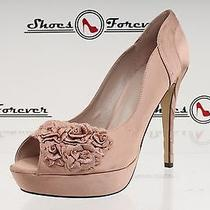Womens Menbur Blush Pink Fabric Open Toe Platforms Pumps Sz. 41 Photo