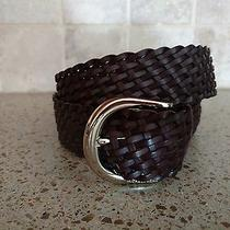 Womens Michael Kors Brown Woven Leather Belt M Nwt Photo