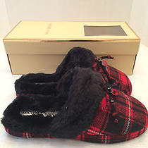 Womens Michael Kors Red Plaid Carter Slippers Scuffs Bedroom Shoes Sz 9 M Nib Photo