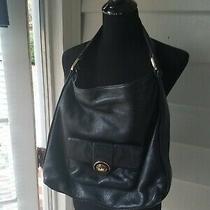 Womens Michael Kors Solid Black Leather Hobo Bag Purse Photo