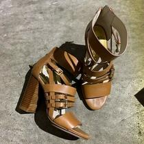 Womens Michael Kors Winston Cognac Tan Leather Strappy Chunky Stacked Heels Photo