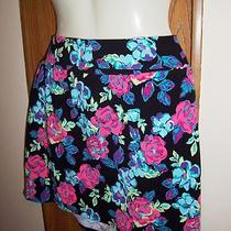 Womens Mini Skirt Body Con S Black Stretch Fold Down Pink Aqua Tube Style Photo