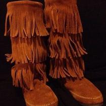 Womens Minnetonka Beige Boots Sz 7 Fringe Hippy  Photo