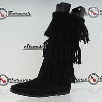 Womens Minnetonka Black Suede Moccasin Boots W/ Fringes Sz. 6 Great Photo