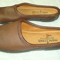 Womens Minnetonka Brown Leather Clogs/slippers-7 Photo