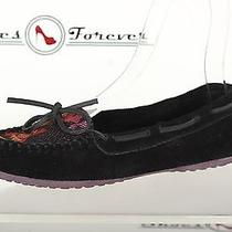 Womens Minnetonka Comfy Black / Multi - Colored Suede Moccasins Sz. 7.5  Photo