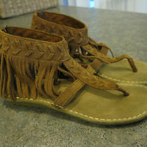 Womens Minnetonka Malaya Ankle Fringe T Strap Leather Sandals Moccasins Size 6 Photo