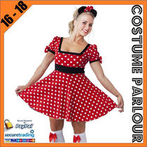 Womens Minnie Mouse Disney Ladies Fancy Dress Costume Sizes 6 - 20 Photo