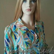 Womens Missoni Aqua Floral Collared Xl Work Suit Dress Shirt Business Blouse Top Photo