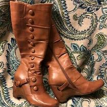 Womens Miz Mooz Brown Victorian Steampunk Bloom Wedge Boots Knee High Size 8 Photo