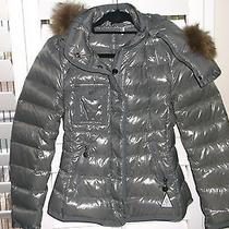 Womens Moncler Fox Hooded Puff Lacquer Jacket Coat Sz 2 Photo