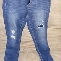 Womens Mossimo Denim Jeans Dark Blue Rinse Size 4/27 High Rise Jegging Distress Photo
