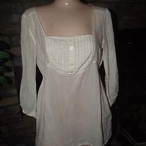 Womens Mossimo Ivory Boho Peasant Shirt Size M Nice Photo