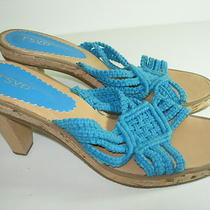 Womens New Aqua Blue Crochet Slides Sandals Career High Heels Shoes Size 8.5 M Photo