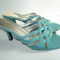 Womens New Aqua Blue Faux Snake Slides Sandals Strappy Heels Shoes Size 9.5 M Photo