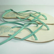 Womens New Blue Aqua Leather Flip Flops Thongs Sandals Flats Heels Shoes Size 8  Photo