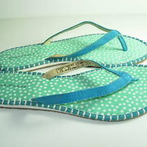 Womens New Blue Aqua Suede Flip Flops Thongs Sandals Flats Heels Shoes Size 9 M Photo