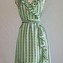 Womens New Kate Spade Aubrey Wrap Dress Silk Green White Black 0 Photo