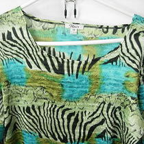 Womens New Lime Aqua Black Poly Crinkle Top Shirt Tunic Blouse Travel Size M 40 Photo