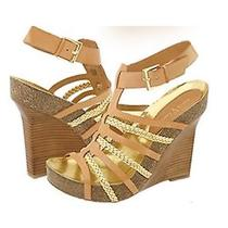 Womens New Vince Camuto Blaze Wedges Heels Shoes Leather Tan/gold Photo