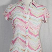 Womens New York & Co. Pink White & Aqua Fitted Summer Career Shirt Top Size Xs Photo